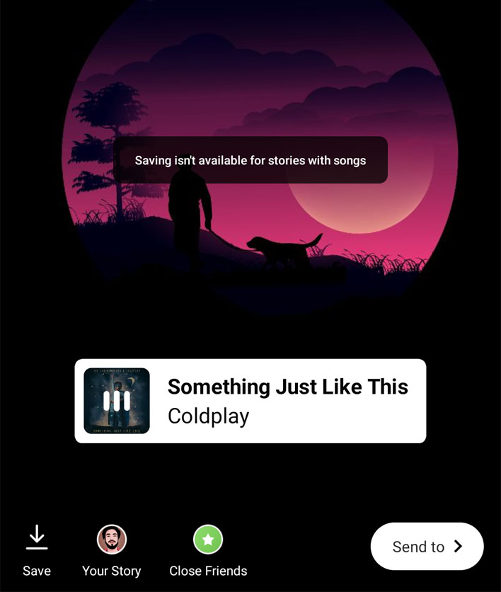 save instagram music story