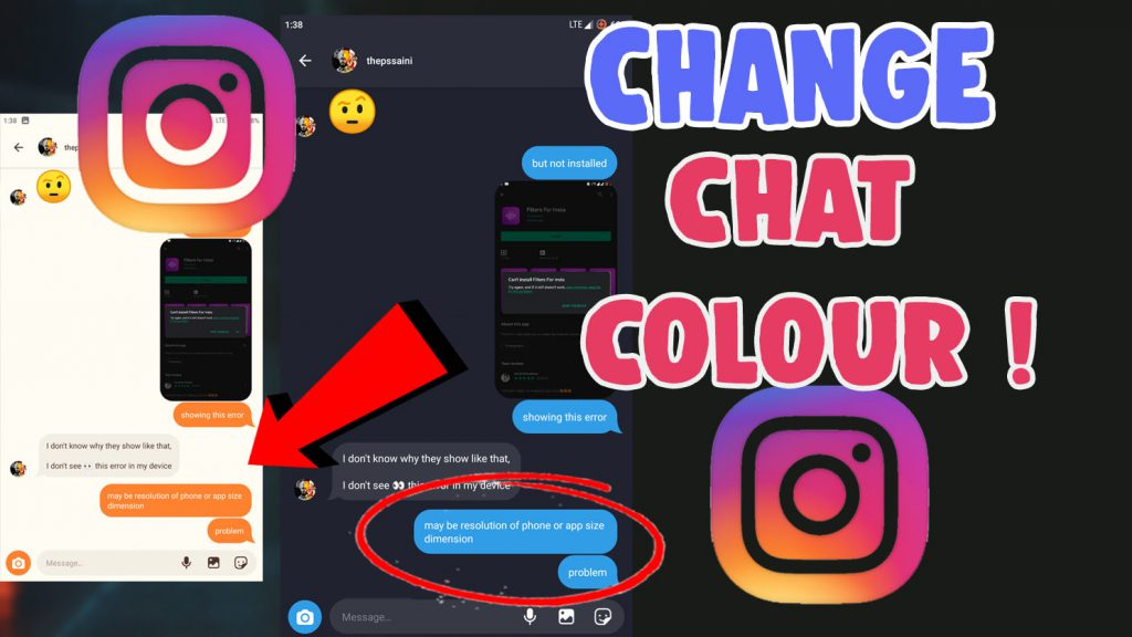 how to change chat colour on instagram ios