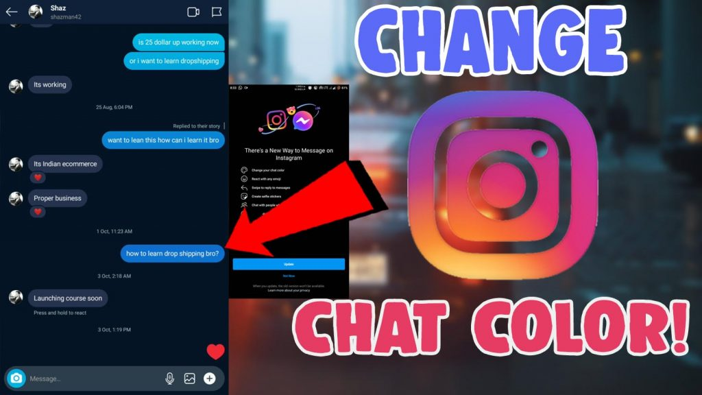 change chat theme instagram android ios
