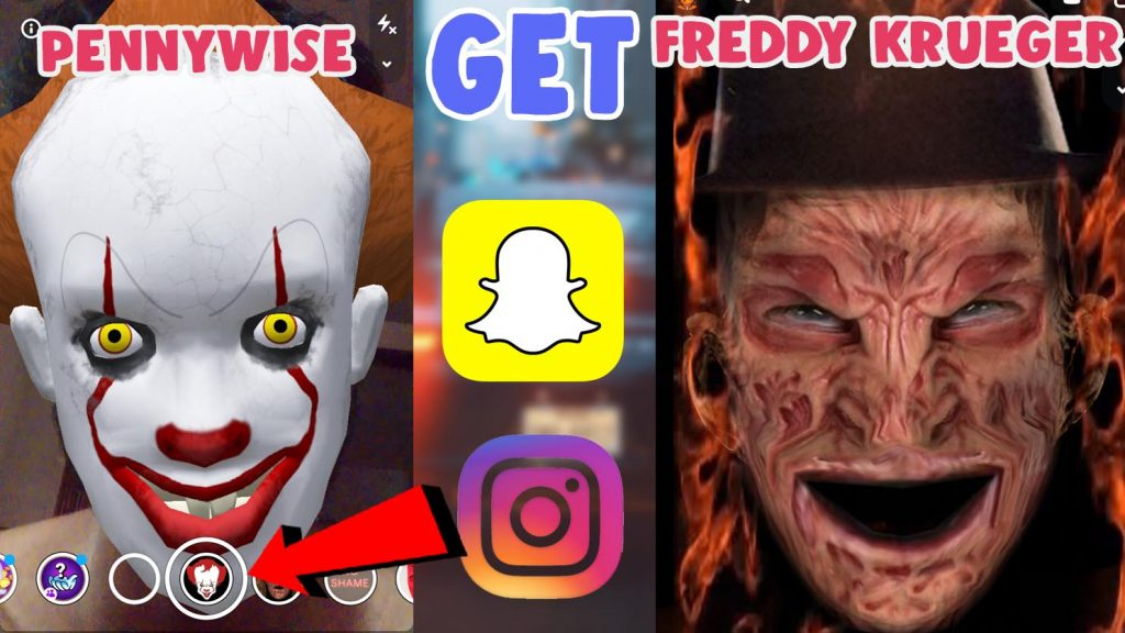 get freddy krueger and pennywise snapchat filter