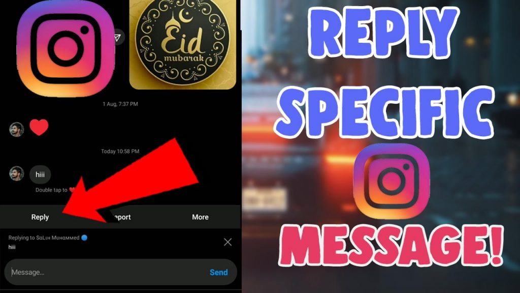 how to reply to specific message in Instagram