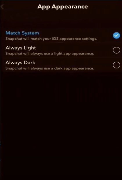 enable dark mode snapchat iphone android