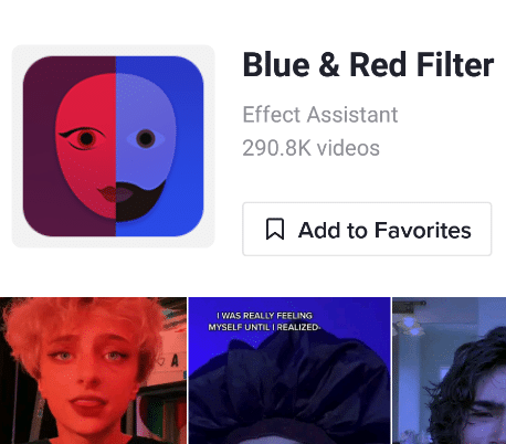 blue and red filter tiktok icon