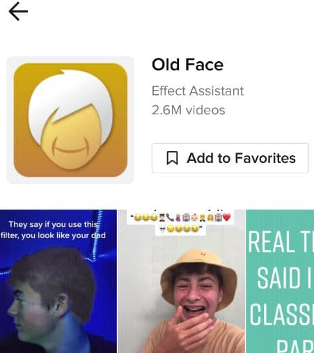 old face filter effect tiktok icon